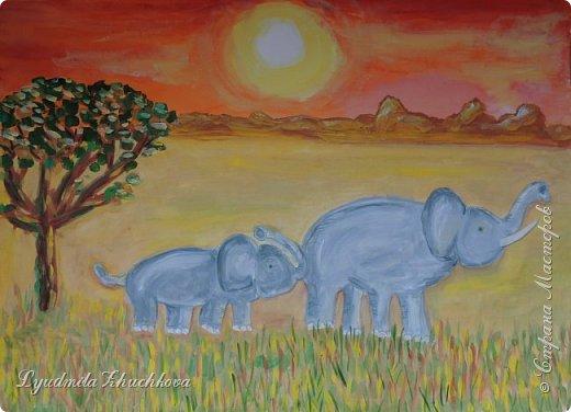 """Номинация """"Язык живой природы"""" понравилась сразу и безоговорочно! Ведь тема мамы с малышом, да ещё в мире животных, так близка и интересна детям. На конкурс Георгий решил нарисовать слониху со слонёнком.  фото 5"""