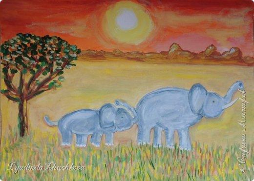 """Номинация """"Язык живой природы"""" понравилась сразу и безоговорочно! Ведь тема мамы с малышом, да ещё в мире животных, так близка и интересна детям. На конкурс Георгий решил нарисовать слониху со слонёнком.  фото 1"""