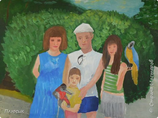 Катя нарисовала всю свою семью, когда они отдыхали на море. Прошло 7 лет, а они с удовольствием вспоминают эту поездку. Это единственный раз, когда семья в полном составе смогла съездить на море. фото 3