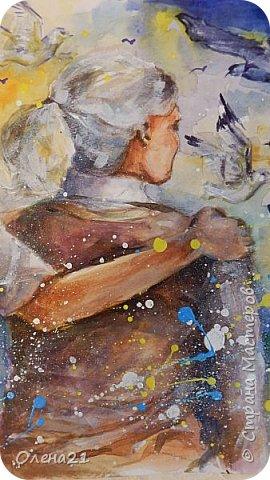 Материнские руки - воплощение нежности (Виктор Гюго).    Нежность - это желание обнять,. Объятия - способ выразить свою любовь, готовность защитить.   Неожиданно для  меня самой получилась работа в виде триптиха, выполненная акварелью и  акрилом на листах формата А3 в технике интуитивного рисования. фото 11