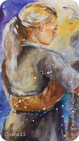 Материнские руки - воплощение нежности (Виктор Гюго).    Нежность - это желание обнять,. Объятия - способ выразить свою любовь, готовность защитить.   Неожиданно для  меня самой получилась работа в виде триптиха, выполненная акварелью и  акрилом на листах формата А3 в технике интуитивного рисования. фото 12