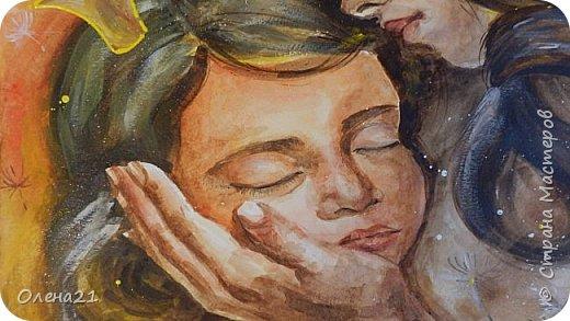 Материнские руки - воплощение нежности (Виктор Гюго).    Нежность - это желание обнять,. Объятия - способ выразить свою любовь, готовность защитить.   Неожиданно для  меня самой получилась работа в виде триптиха, выполненная акварелью и  акрилом на листах формата А3 в технике интуитивного рисования. фото 4
