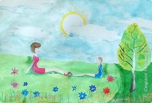 """""""Мама для меня как лучшая подруга!""""-размышляет Мария.Вот и на этой работе она изобразила себя рядом с мамой.""""Как здорово греться в лучах весеннего солнца и видеть счастливое лицо родного человека!Такие моменты запоминаются надолго, и хочется их запечатлеть в своих работах!"""" фото 1"""