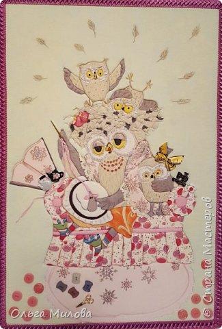 """Здравствуйте, уважаемые жители Страны Мастеров! Принимайте конкурсную работу Матвея и Ильи. """"Творческая мама"""" в образе мудрой совы. А рядышком ее детки) Работа сделана по мотиву иллюстрации Инги Измайловой.  фото 1"""