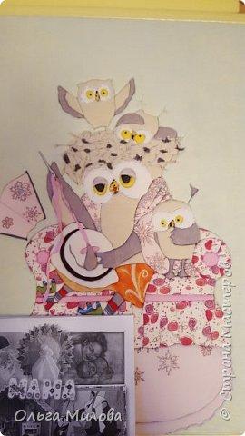 """Здравствуйте, уважаемые жители Страны Мастеров! Принимайте конкурсную работу Матвея и Ильи. """"Творческая мама"""" в образе мудрой совы. А рядышком ее детки) Работа сделана по мотиву иллюстрации Инги Измайловой.  фото 6"""