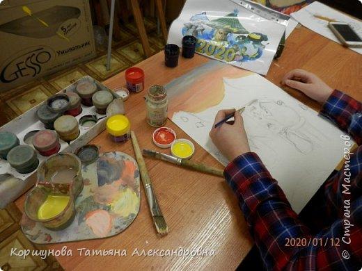"""Наши художники не могли остаться в стороне и приняли активное участие. Антарктиду и пингвинов мы никогда не рисовали, поэтому было интересно пофантазировать на новую тему. Пингвинья жизнь  оказалась активная, творческая и насыщенная разными событиями . Работа """"Пингвин на пленере"""". Габдулганиева Алина 12 лет.Художники из разных стран  стремятся  в Антарктиду, Чтобы изобразить ее просторы и красоту.Алина рисует  местных творцов.Натурщик явно притомился, а подрастающее поколение набирается опыта. фото 3"""