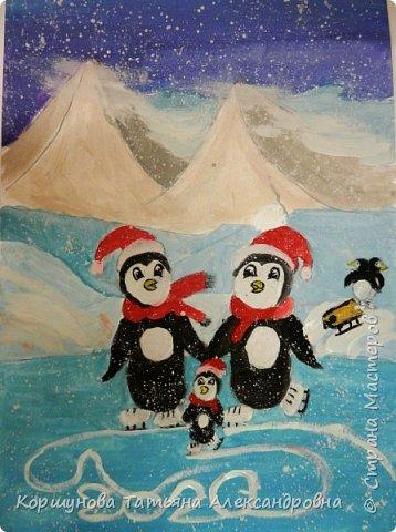 А у нас снега нет. Оливия рисует каток, коньки, новогодних пингвинов и конечно снег. фото 1