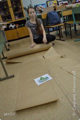 """Всем здравствуйте! Это опять я Мастеришка и мои ребята! Сегодня показываем панно """"Сказочный домик Деда Мороза""""(и это последняя работа в этом конкурсе)))) Можно сказать, что эта работа была начата одной из первых, но кто занимается выкладыванием картинок из оригами- мозаики, тот нас поймет)...даже картинка на 250 модулей получается не быстро. фото 8"""