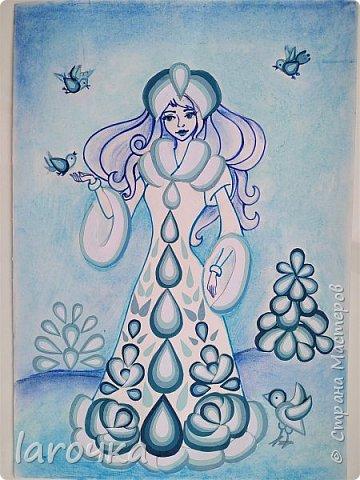 """""""Сине-голубое чудо"""". Именно так называют русский народный промысел Гжель. И чудесная Снегурочка Насти и Кати сине-голубая! фото 1"""