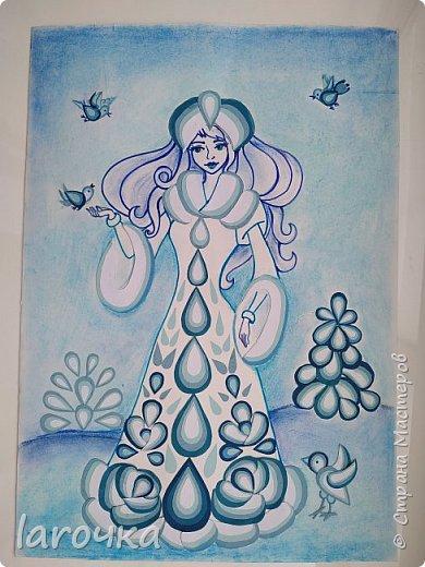 """""""Сине-голубое чудо"""". Именно так называют русский народный промысел Гжель. И чудесная Снегурочка Насти и Кати сине-голубая! фото 12"""