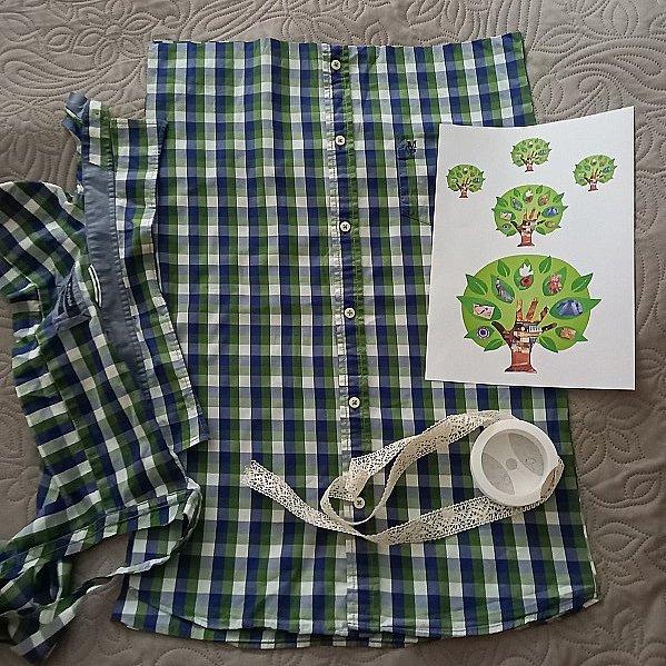 """Привет всем в СМ! В шкафу сына висели рубашки, которые он давно уже носил. Некоторые совсем хорошие, в некоторых """"затерся"""" воротник или порвались рукава. Сын был доволен, когда освободила его шкаф от """"давно не нужного тряпья"""" - это его слова, не мои... Для меня это не тряпье! Для меня это сокровище! Хорошая рубашечная ткань с моими любимыми принтами: полоска и клетка. Пуговицы!!! Шей - что хошь! Сшила для внучки такой комплектик: юбочка и сумочка. фото 5"""