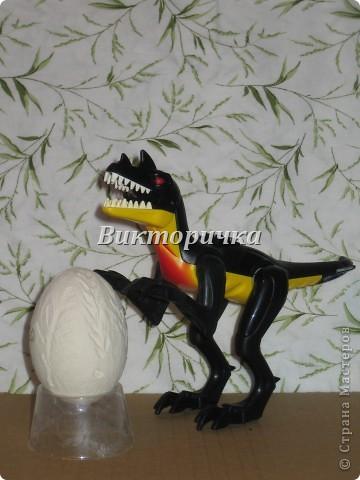 Яйцо динозавра. Поверх скорлупы нанесена застывающая пластичная масса и пока она ещё не засохла, пропечатывала рисунок колосками и веточками растений.  фото 1
