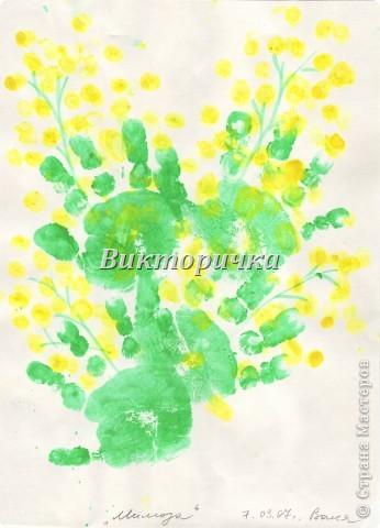 Фартушек. Он был сшит для мамы к 8 марта, дети (Зое-7лет, Ване-3года) украсили его своими ладошками, а Зоя выполнила дополнителоно вышивку тамбурным швом + аппликация пуговицами. фото 2