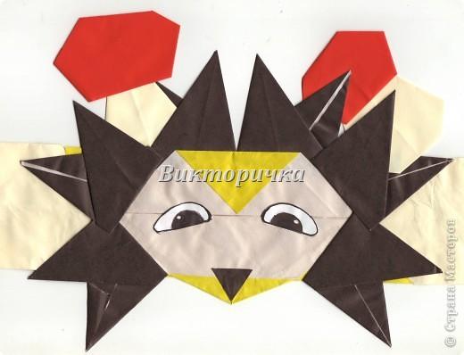 Маски Мастер-класс Новый год Праздник осени Оригами Маска Ёжик  Бумага фото 1