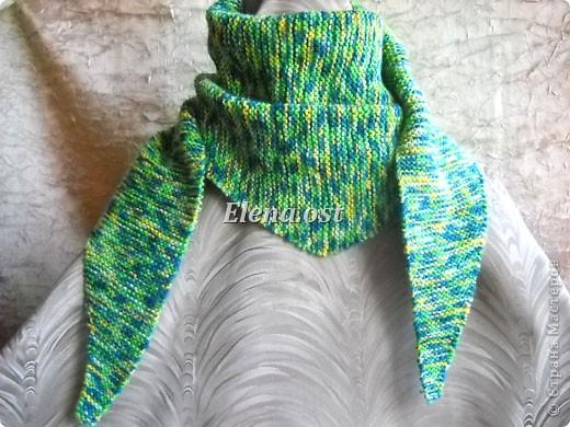Гардероб Мастер-класс День рождения Вязание спицами Бактус - треугольный шарф-косынка МК Пряжа фото 11