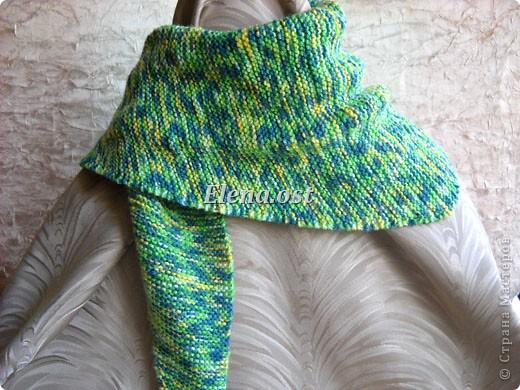 Гардероб Мастер-класс День рождения Вязание спицами Бактус - треугольный шарф-косынка МК Пряжа фото 13