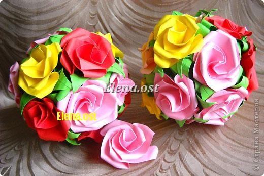 Внеклассная работа Кусудама Оригами Кусудама Розы Бумага фото 2