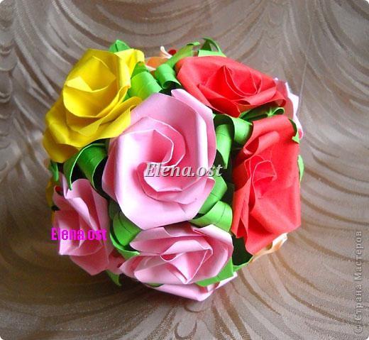 Внеклассная работа Кусудама Оригами Кусудама Розы Бумага фото 3