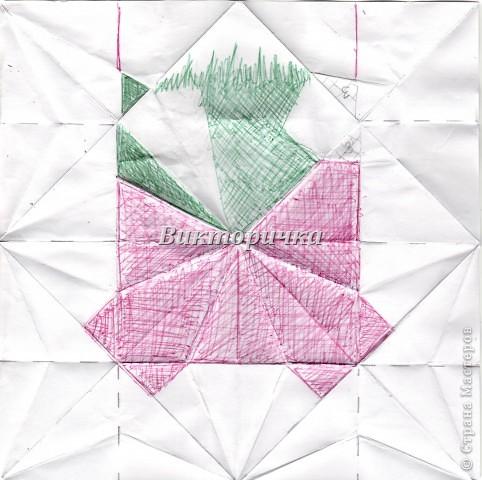 Такой цветочек ПИОНА сделан из пяти отдельно сложенных модулей. Были взяты листы писчей бумаги, формат А4 и обрезаны до правильного квадрата. Думаю, что если взять более тонкую бумагу, например, папиросную, то можно было бы сделать цветок более мелкого размера. Да и выглядел бы он оригинально - немного полупрозрачно, таинственно. Вдруг, именно такой эффект кому-то понадобится. фото 25