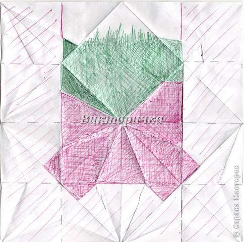 Такой цветочек ПИОНА сделан из пяти отдельно сложенных модулей. Были взяты листы писчей бумаги, формат А4 и обрезаны до правильного квадрата. Думаю, что если взять более тонкую бумагу, например, папиросную, то можно было бы сделать цветок более мелкого размера. Да и выглядел бы он оригинально - немного полупрозрачно, таинственно. Вдруг, именно такой эффект кому-то понадобится. фото 26