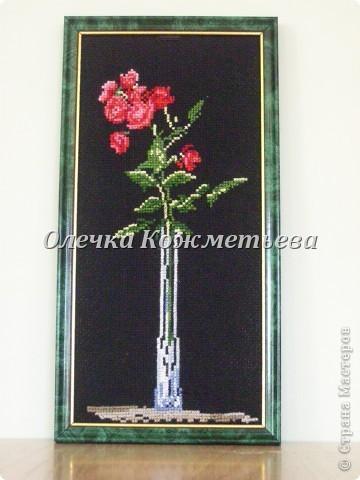 """Моя первая работа- вышивка """"Роза в вазе"""". фото 1"""