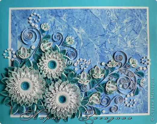 """Осень еще только в разгаре ,а меня уже потянуло к зиме, случайно найденный в моих """"залежах"""" листок с пробным рисунком акварелью, натолкнул меня на идею этой картины.(23см * 17см) фото 1"""
