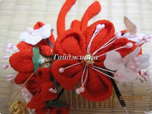 Канзаши (Kanzashi) - украшения для волос, используемые в традиционных китайских и японских прическах. Сразу оговорюсь, что я сама их не делала. Это покупные. Выставляю, может, кому пригодятся идеи. фото 5
