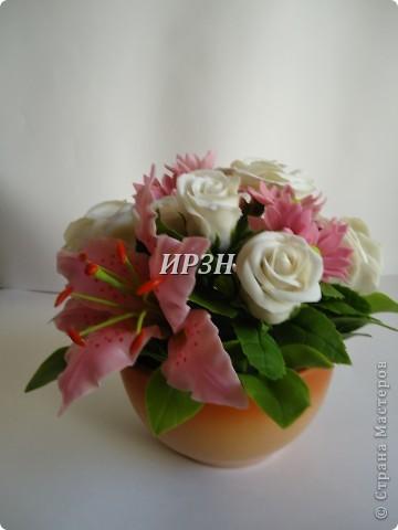 размер:20-22см цветы:хризантема,лилия,роза фото 2