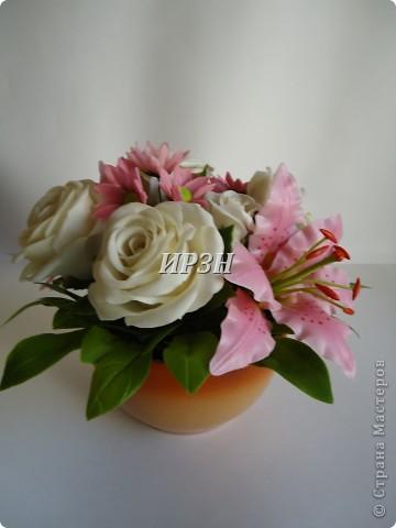 размер:20-22см цветы:хризантема,лилия,роза фото 3