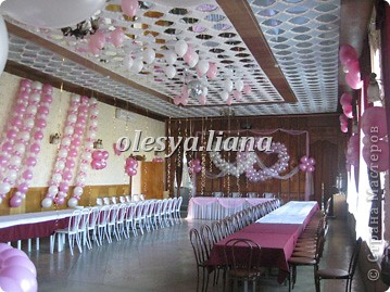 Украсила свадьбу шарами и тканью  фото 2