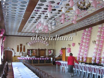 Украсила свадьбу шарами и тканью  фото 5