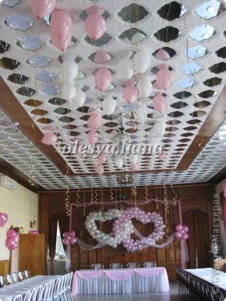 Украсила свадьбу шарами и тканью  фото 1