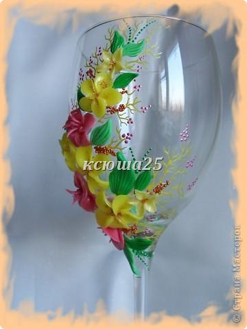 Мне заказали бокал на выпускной вечер для дочки, встречать рассвет. Бокал решили сделать ярким,солнечным,я думаю должен понравиться? Если сегодня одобрит заказ,то начну еще свечу делать,потом корсаж и цветы в голову. http://stranamasterov.ru/node/112795 вот здесь мк цветка розового и листиков фото 4