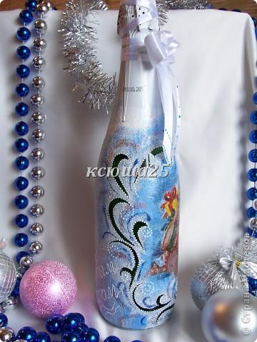 Ну вот наконец -то и у меня появились новогодние бутылочки. Как получилось ,судить  вам.  фото 2