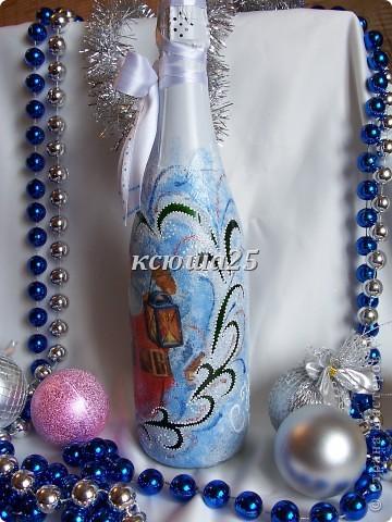Ну вот наконец -то и у меня появились новогодние бутылочки. Как получилось ,судить  вам.  фото 4