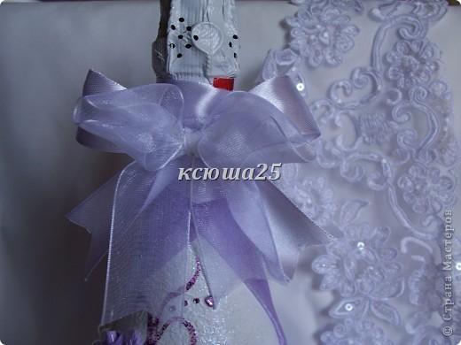 Вот такая бутылочка мне пришла в голову и я ее сделала,ее можно не только на свадьбу ну и в подарок. фото 3