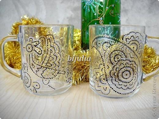 Стеклянные чашки. Роспись контурами. фото 1