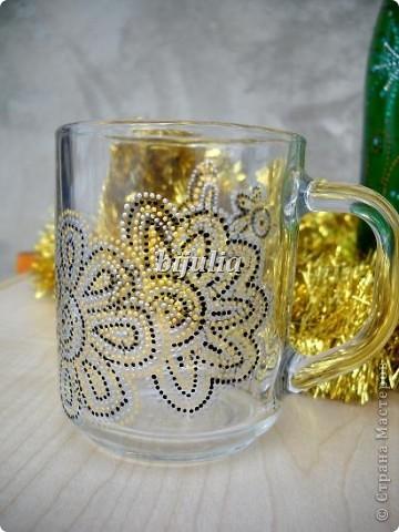 Стеклянные чашки. Роспись контурами. фото 4
