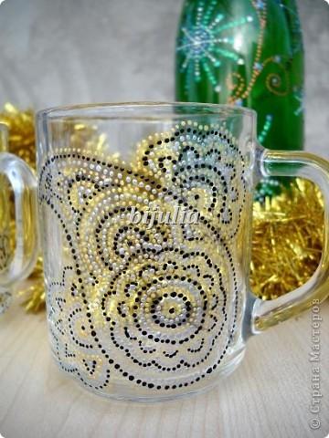 Стеклянные чашки. Роспись контурами. фото 6