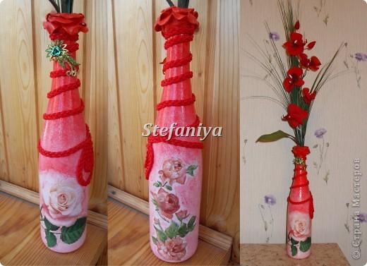 мелодия для розы ... на горлышке - роза вылеплена из пластической массы,  на тесьме-заколка.... фото 1