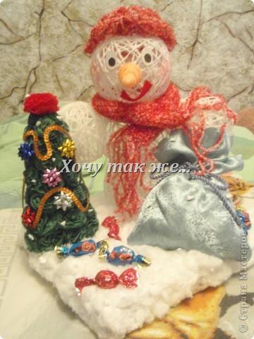 Здравствуте!Первый раз выкладываю поделку в СМ   Вот такую новогоднюю полянку мы сделали с дочкой для садика!    фото 2