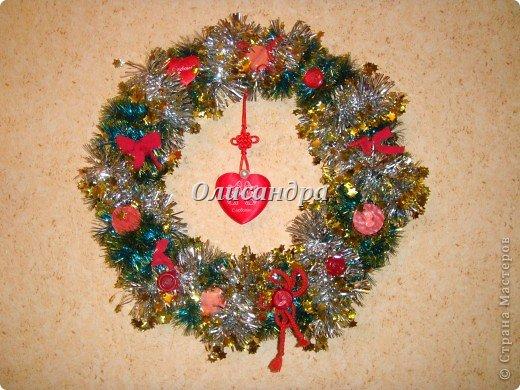Вчера,гуляя по Стране Мастеров,я увидела рождественский венок  http://stranamasterov.ru/node/129253 Конечно,я смотрела на них и раньше, но этот меня вдохновил... Вдохновение совпало с наличием свободного времени ... и процесс начался... фото 1