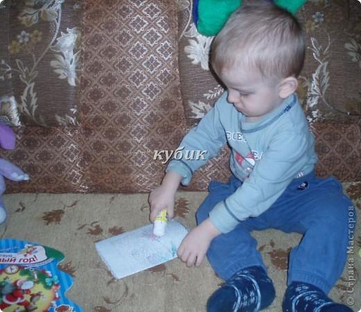 вот такую открыточку сделали с Игнатушкой в подарок бабушке:))использовали мишку наклейку, остальное сами фото 3