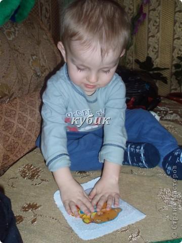вот такую открыточку сделали с Игнатушкой в подарок бабушке:))использовали мишку наклейку, остальное сами фото 4
