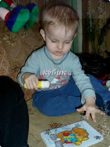 вот такую открыточку сделали с Игнатушкой в подарок бабушке:))использовали мишку наклейку, остальное сами фото 5