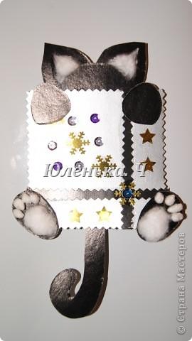 Котик Картон, вата, украшение, клей. фото 1