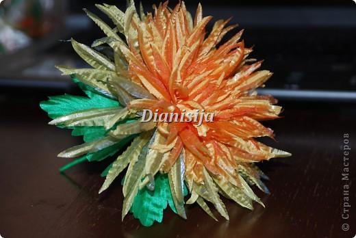 Цветы из ткани ... Хризантема фото 2