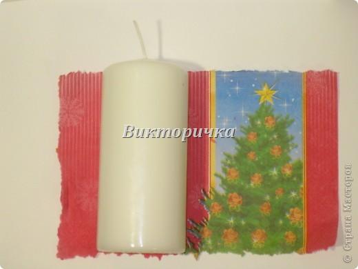 К Новому году, ко дню рождения или на день влюблённых - всегда зажигают свечи! Предлагаю Вашему вниманию простой МК по декупажированию свечи. фото 3
