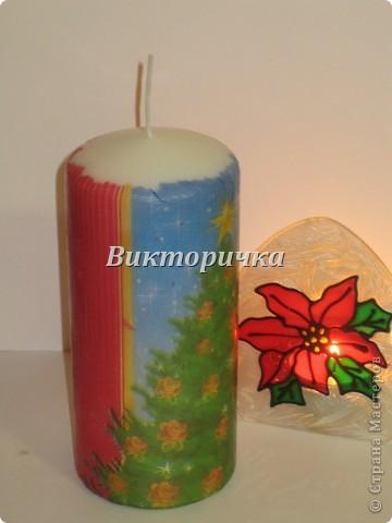 К Новому году, ко дню рождения или на день влюблённых - всегда зажигают свечи! Предлагаю Вашему вниманию простой МК по декупажированию свечи. фото 9