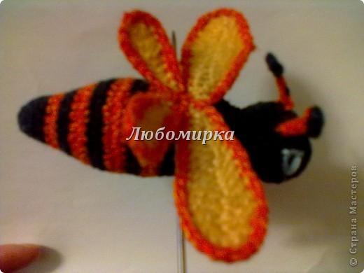 Милая пчёлка, связана крючком. Состоит из туловища, головы, двух пар крыльев и лапок...Наполнитель синтепон(вата).  фото 1
